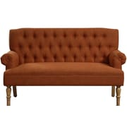 Charlton Home Barryknoll Tufted Upholstered Settee; Pumpkin Orange