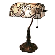 AmoraLighting Tiffany Floral Banker 13'' Table Lamp