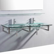 BelvedereBath Signature Series Wall Mounted Glass 55'' Double Bathroom Vanity Set