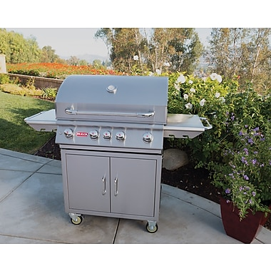 Bull Outdoor Angus 4-Burner Propane Gas Grill w/ Cabinet; Natural Gas