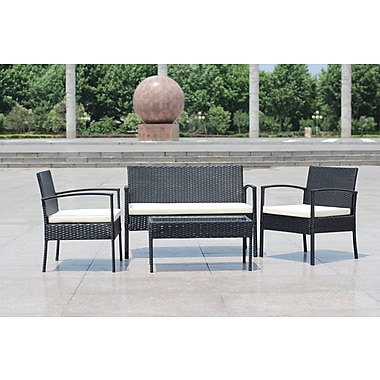IDSOnlineCorp Rattan Wicker Patio 4 Piece Lounge Seating Group w/ Cushion