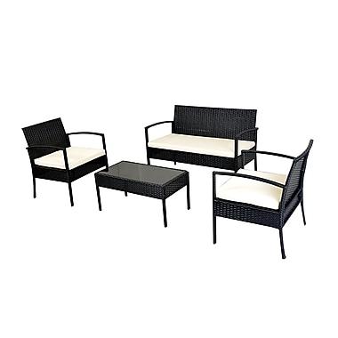 Varick Gallery Porath Outdoor 4 Piece Rattan Sofa Set w/ Cushions; White