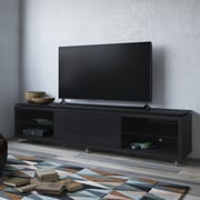 Latitude Run Franklin TV Stand; Black Gloss / Black Matte