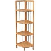 LNCHome 4-Tier Bamboo Corner Shelf Storage Rack