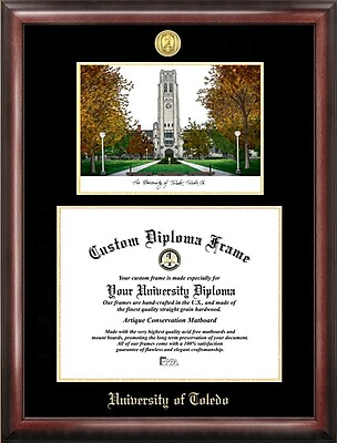 Campus Images NCAA Gold Embossed Diploma w/ Campus Images Lithograph Picture Frame; Toledo Rockets