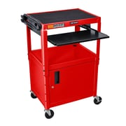 Offex Metal AV Cart; Red