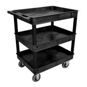 Offex 3 Shelf Tub Utility Cart; Black