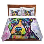 DiaNocheDesigns Illustrious Pitbull Dog Duvet Set; King