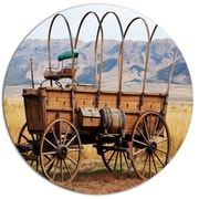 DesignArt 'Old American Cart in Grassland' Landscape Photographic Print on Metal