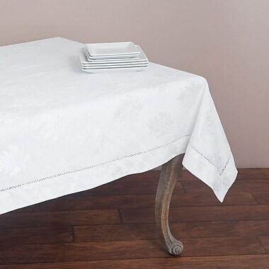 Saro Drawnwork Damask Tablecloth; White