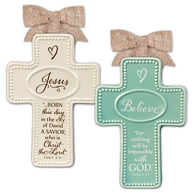 LighthouseChristianProducts 2 Piece Christmas Cross Ornaments Set
