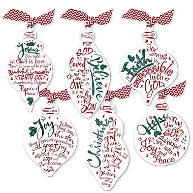 LighthouseChristianProducts 6 Piece Red & White Ornaments Set