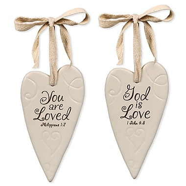 LighthouseChristianProducts 2 Piece You Are Loved Swirl Heart Ornaments Set