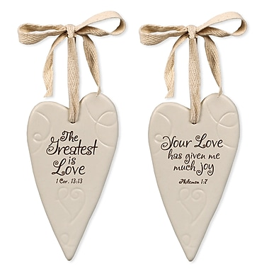 LighthouseChristianProducts 2 Piece Your Love Swirl Heart Ornaments Set