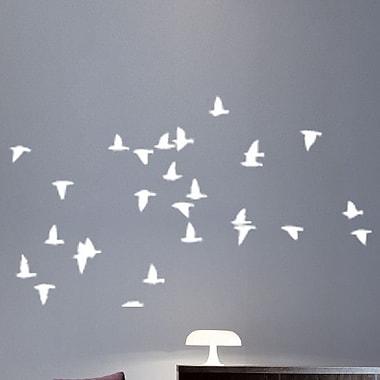 Wallhogs Flocking Birds Sihouette Wall Decal; White