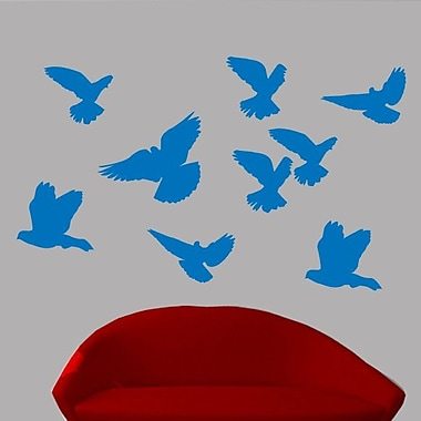 Wallhogs Mixed Birds Sihouette Wall Decal; Blue