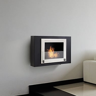 Eco-Feu Wellington Wall Mounted Ethanol Fireplace; Stainless Steel