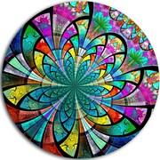 DesignArt 'Multi Color Fractal Flower Pattern' Modern Floral Graphic Art Print on Metal