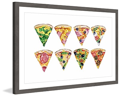 Marmont Hill 'Pizza Styles' Framed Watercolor Painting Print; 24'' H x 36'' W x 1.5'' D