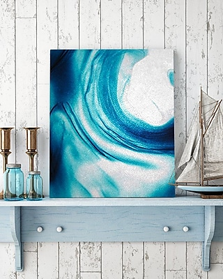 Artzee Designs 'Modern Blue Wave Natural' Wall Art on Wrapped Canvas; 16'' H x 16'' W x 0.75'' D
