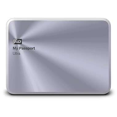 WD 1TB Silver My Passport Ultra Metal Edition USB 3.0 Portable External Hard Drive, WDBTYH0010BSL-NESN