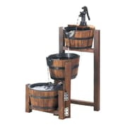 Zingz & Thingz Fir Wood and Iron Apple Barrel Cascading Fountain