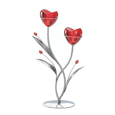 Zingz & Thingz Two Hearts in Bloom Iron, Glass and Plastic Candelabra