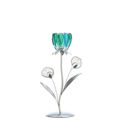 Zingz & Thingz Peacock Bloom Iron, Glass and Plastic Candlestick