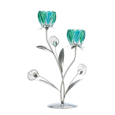 Zingz & Thingz Double Peacock Bloom Iron, Glass and Plastic Candelabra