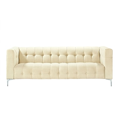 Inspired Home Co. Seurat Tufted Sofa; Beige