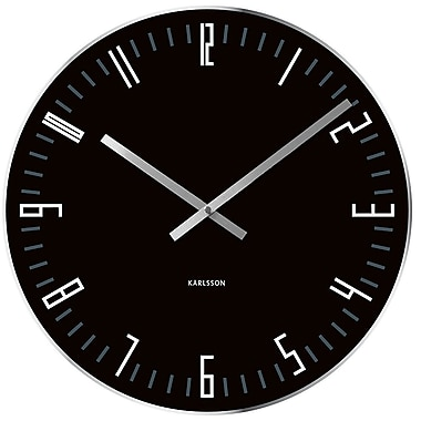 Present Time Karlsson Slim Index Glass 17.5'' Wall Clock w/ Mirror Edge