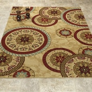Casamode Functional Furniture Elegant Modern Contemporary Beige/Red Area Rug