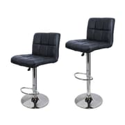 Calhome 21.5'' Swivel Bar Stool w/ Cushion (Set of 2); Black