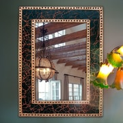 DecorShore Decorative Crackled Glass Mosaic Wall Mirror; Brown