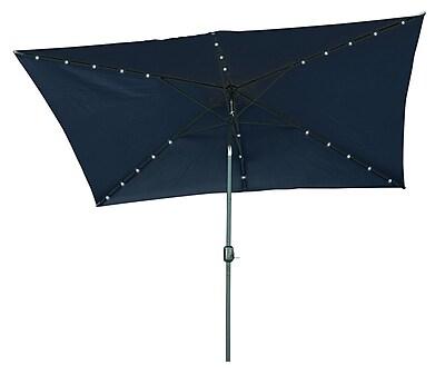 Trademark Innovations 6.5' x 10' Rectangular Illuminated Umbrella; Gray