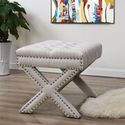 Inspired Home Co. Kenny Button Tufted Cocktail Ottoman; Cream White