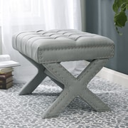 Inspired Home Co. Kenny Button Tufted Nailhead Trim Ottoman; Light Gray
