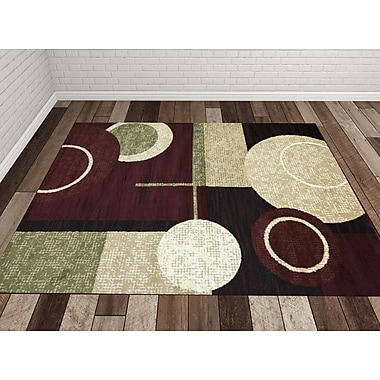 Samnm Trade Cylindrical Maroon/Green Area Rug; 3' x 5'