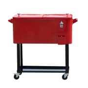Outsunny 80 Qt. Rolling Portable Drink Cooler Cart; Red