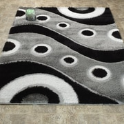 Casamode Functional Furniture Casa Regina Shaggy 3D Wave Gray/Black Area Rug