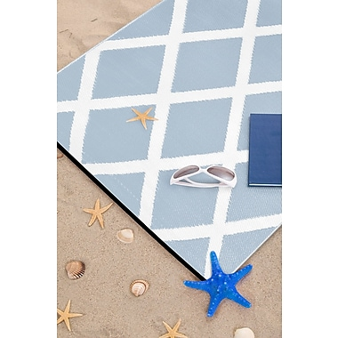 Wildon Home Lightweight Reversible Diamond Light Blue/White Indoor/Outdoor Area Rug