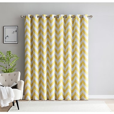HLC.ME Chevron Thermal Patio Door Blackout Single Curtain Panel; Yellow