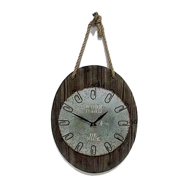 Wilco Home ''Work Hard & Be Nice'' Wood Wall Clock