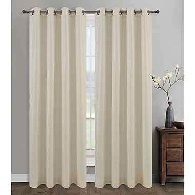 Urbanest Cosmo Solid Semi-Opaque Grommet/Eyelet Curtain Panel Pair (Set of 2); Cream