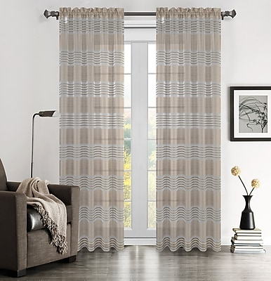 Urbanest Addie Striped Sheer Rod Pocket Curtain Panel Pair (Set of 2); Chocolate