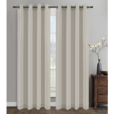 Urbanest Cosmo Semi-Opaque Grommet/Eyelet Curtain Panel Pair (Set of 2); Natural