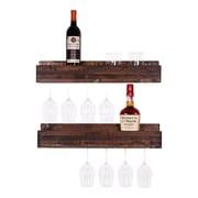 Loon Peak Tristen 5 Bottle Wall Mounted Wine Glass Rack (Set of 2); Dark Walnut