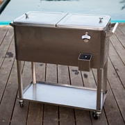 Permasteel 80 Qt. Stainless Steel Patio Rolling Cooler