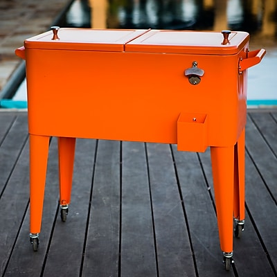 Permasteel 80 Qt. Patio Rolling Cooler; Orange