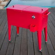 Permasteel 80 Qt. Patio Rolling Cooler; Red